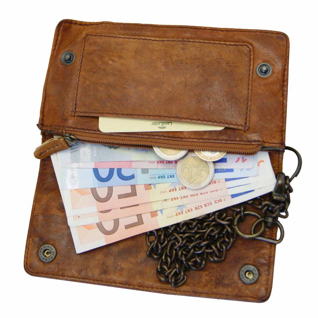 Men S Chain Wallet Carnegie Of Brown Rugged Hide Leather