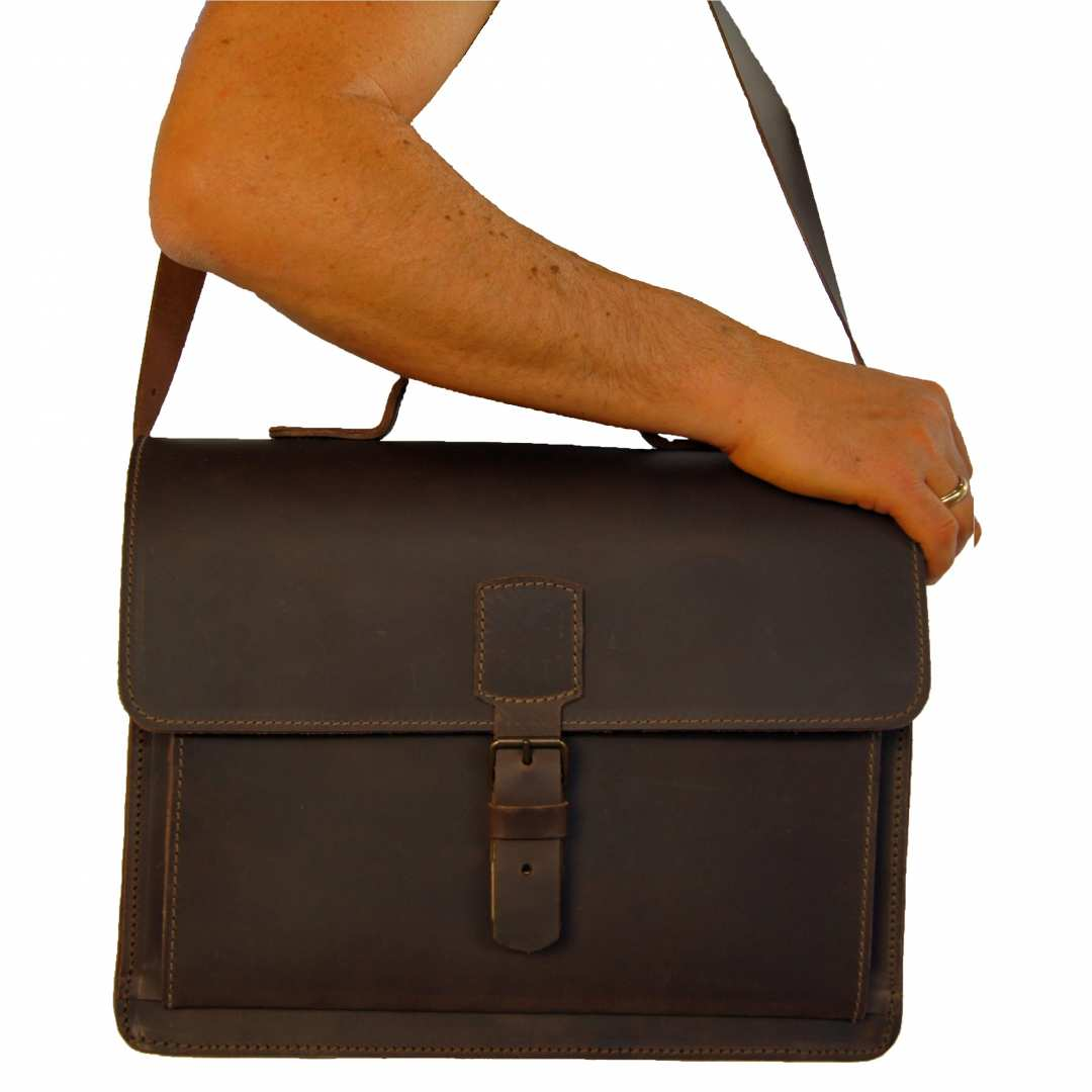 Leather Care Baron of Maltzahn Briefcase LEIBNIZ Brown Leather Made in Germany